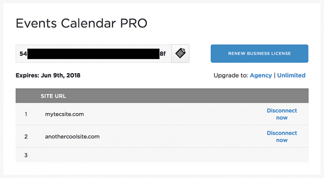 Events Calendar PRO license key showing two activation slots currently in use