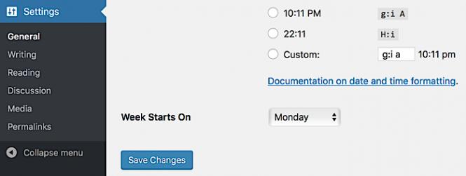 """Menu selector for """"Week Starts On"""" in WordPress general settings"""