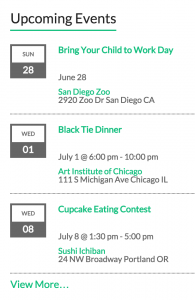 Events Calendar Widgets