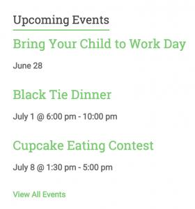 Upcoming Event List Widget