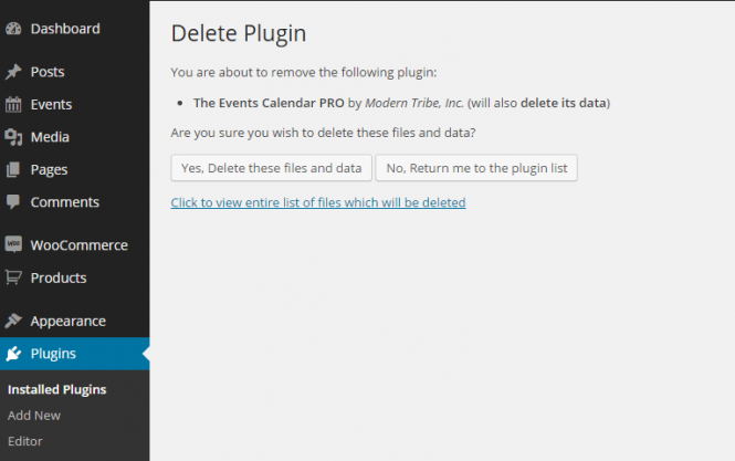 Deleting the Plugin