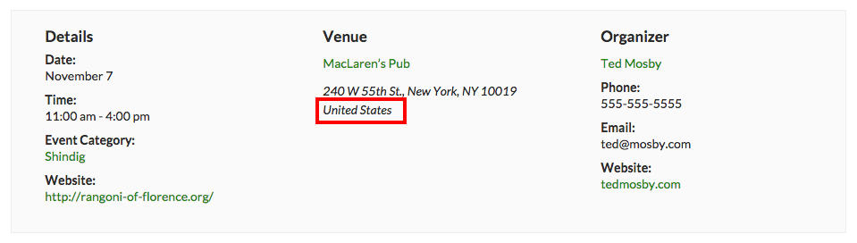 Country Label on an Event Page