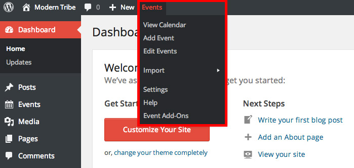 The Events Menu in the WP Admin Bar