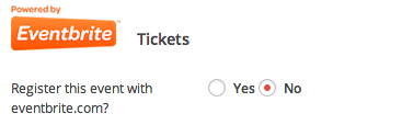 Creating tickets and publishing to Eventbrite.com - Register this event with Eventbrite.com