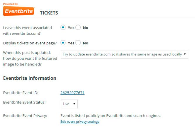 Leave this event Associated with eventbrite.com and display tickets on event page