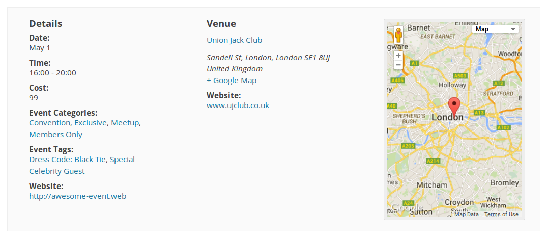 Screenshot showing the single event meta area