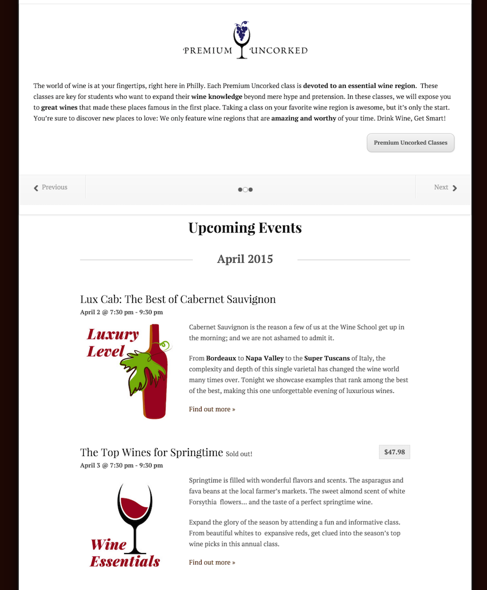 showcase - wine school - list view with slider