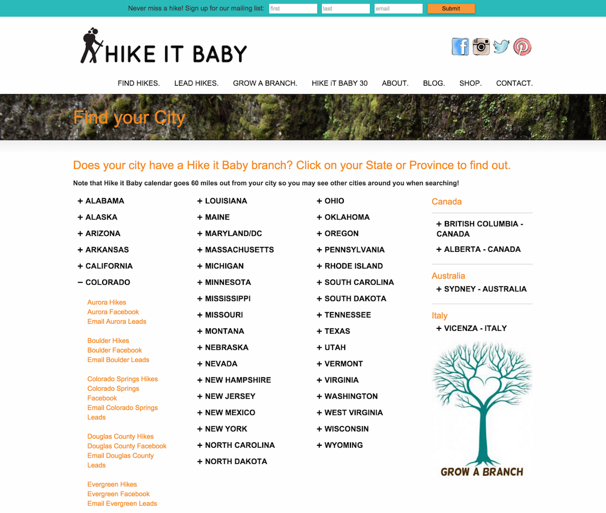 showcase - hikeitbaby - find your city