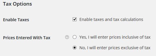 WooCommerce Vat Tax - Options