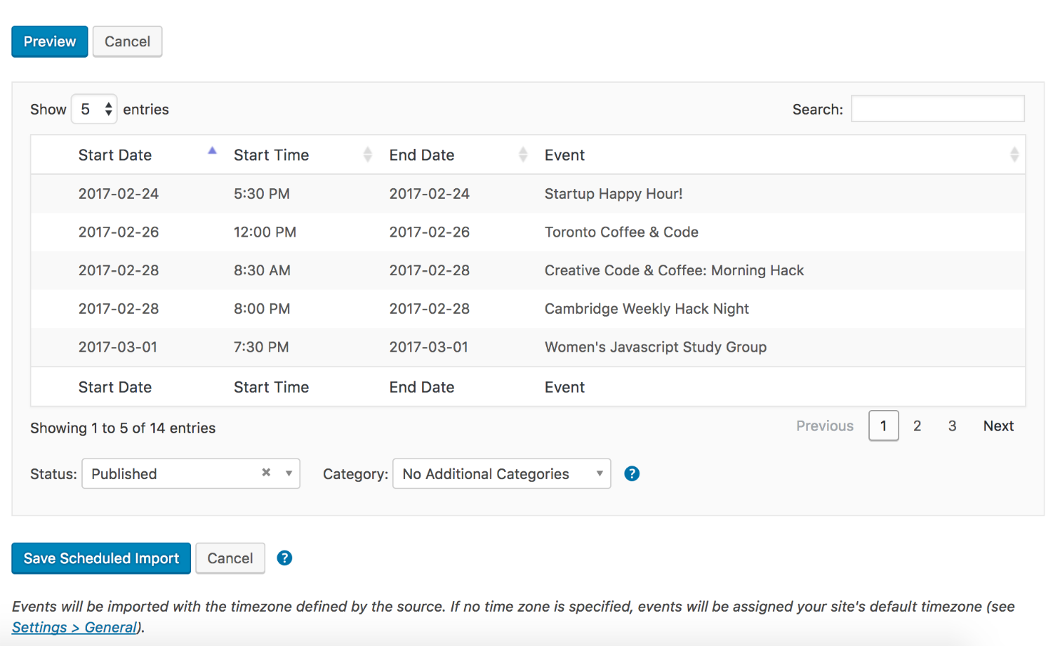 Event Aggregator: Import Preview
