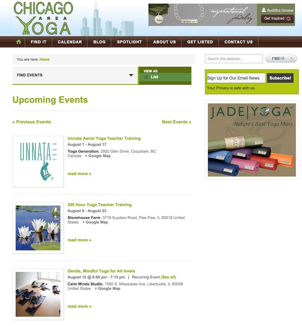 showcase - chicago yoga - list view