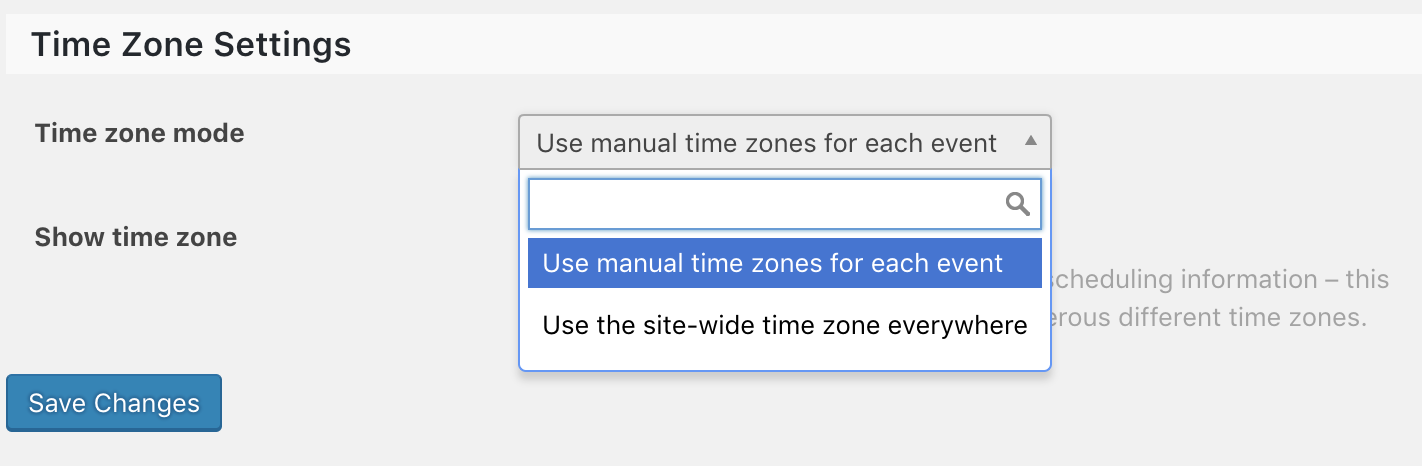 The Events Calendar's Time Zone Settings