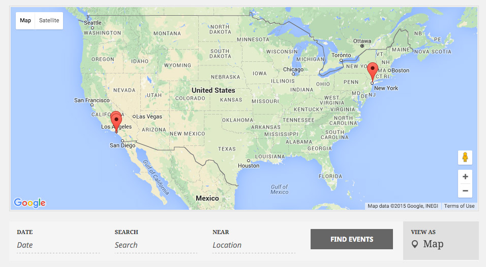 The Events Calendar Pro Map View uses Google Maps to display upcoming events