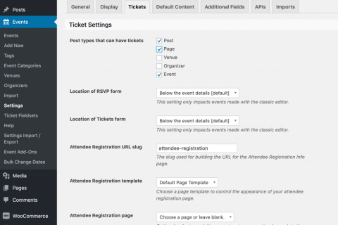 Tickets Settings in the Backend