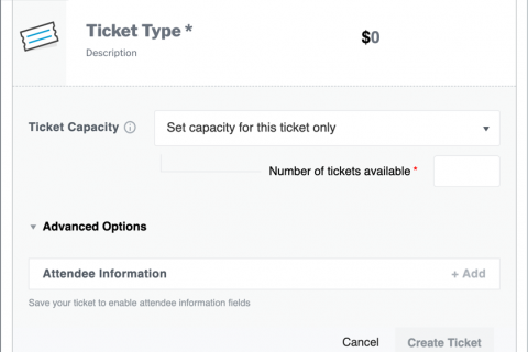 The Ticket form in the Block Editor. You retain full control over ticket pricing, availability, and more.