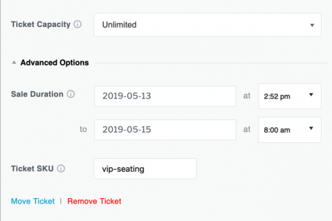 Advanced settings for each of your tickets (Block Editor).