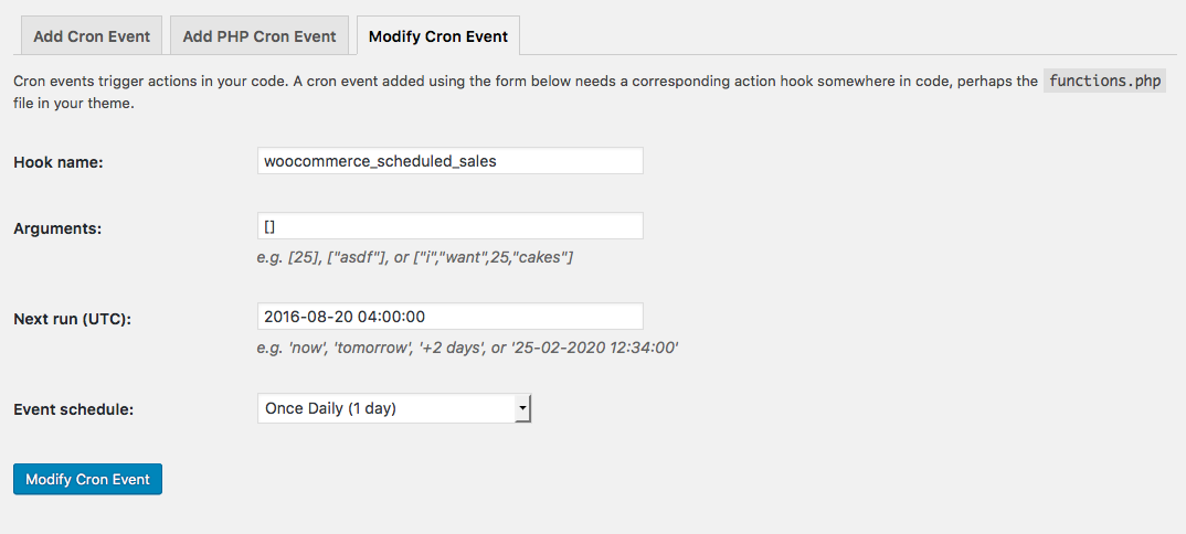 Modfy an Existing Cron Event with WP Crontrol