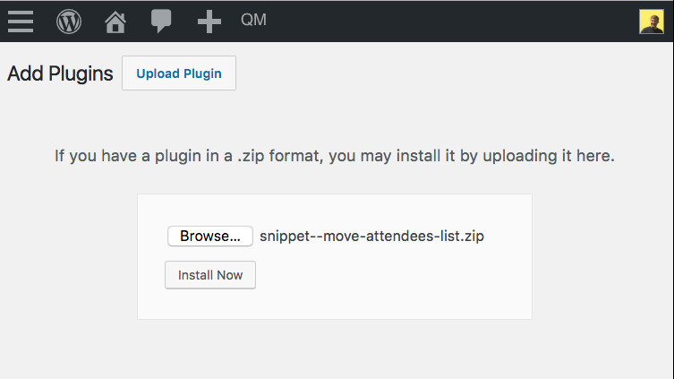 Uploading a .zip In the Plugins Page