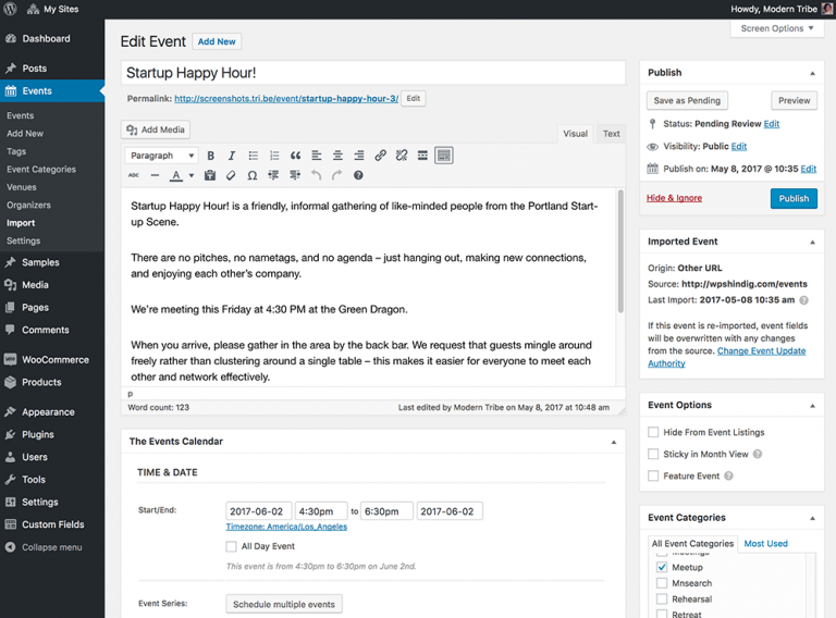 Event Aggregator import history available on individual event pages