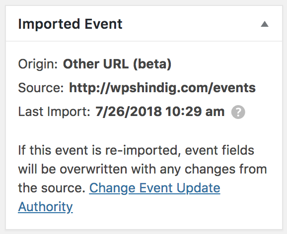 Imported event origin displays on the right side of the event post editor.