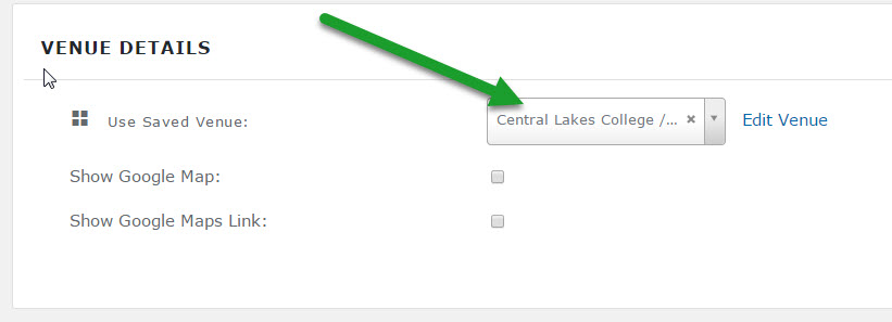 Cannot select venue in drop down   The Events Calendar