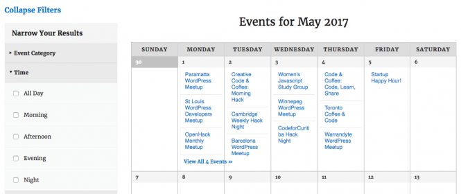 screenshot of the events calendar with the existing time of day filters expanded on the left