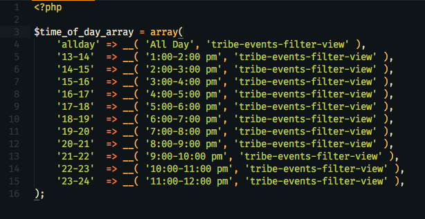 screenshot of time-of-day array code