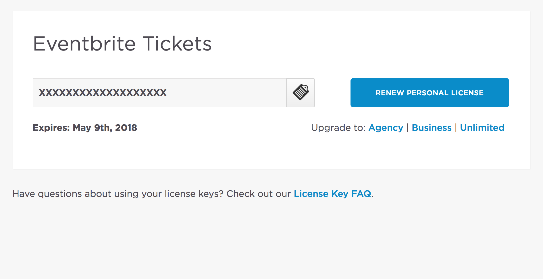 Eventbrite Tickets, but the license key is invalid (unable