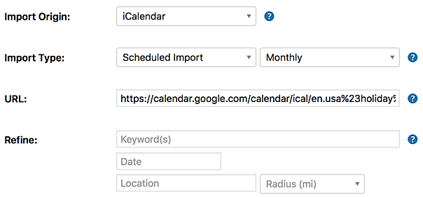 "Settings for importing an ICS calendar URL from Google's list of ""interesting calendars"""