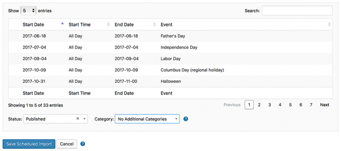 "Preview of events to be imported from one of Google's ""interesting calendars"""
