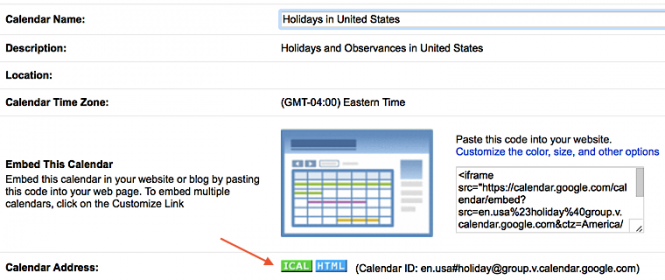 Example of an iCal feed button for a Google Calendar