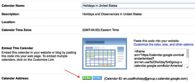 Example of an iCal feed button for a Google Calendar