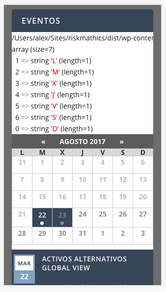 Calendar Days Of The Week In Spanish.Event Calendar Widget Days Of The Week X Instead Of M Spanish