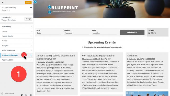 customizer The Events Calendar