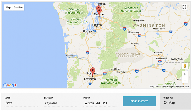 Map View on WP Shindig showing filtered results after performing a location search