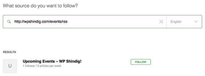 Adding WP Shindig's events RSS feed as a new subscription with Feedly