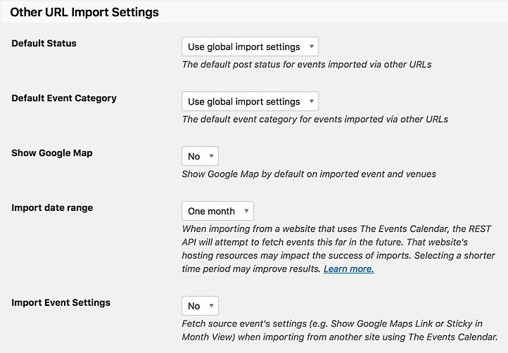 Other URL Import Settings from Event Aggregator