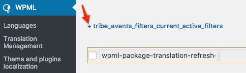 Setting up Filter Bar with WPML: Click on the+ sign to expand the tribe_events_filters_current_active_filters twisty