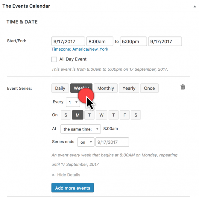 how to create a recurring event