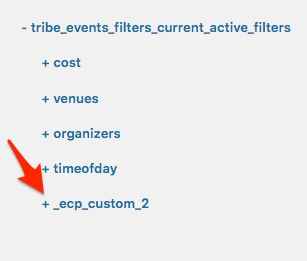 Click on the+ sign to expand each of your custom active filters twisties