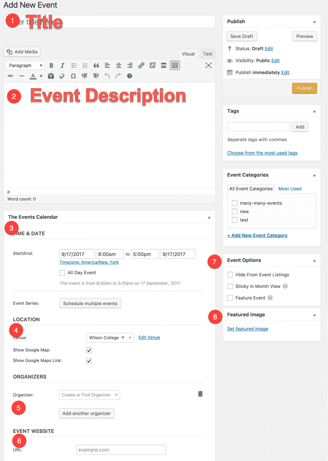 how to create new events