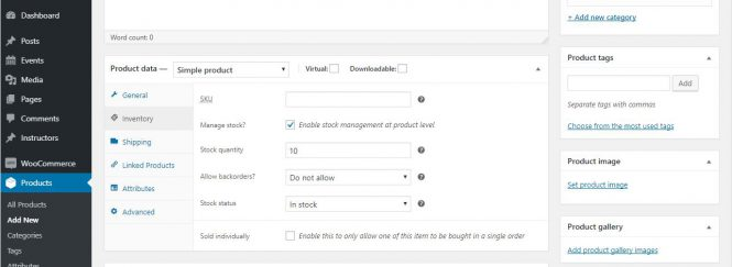 screenshot of WooCommerce product inventory settings