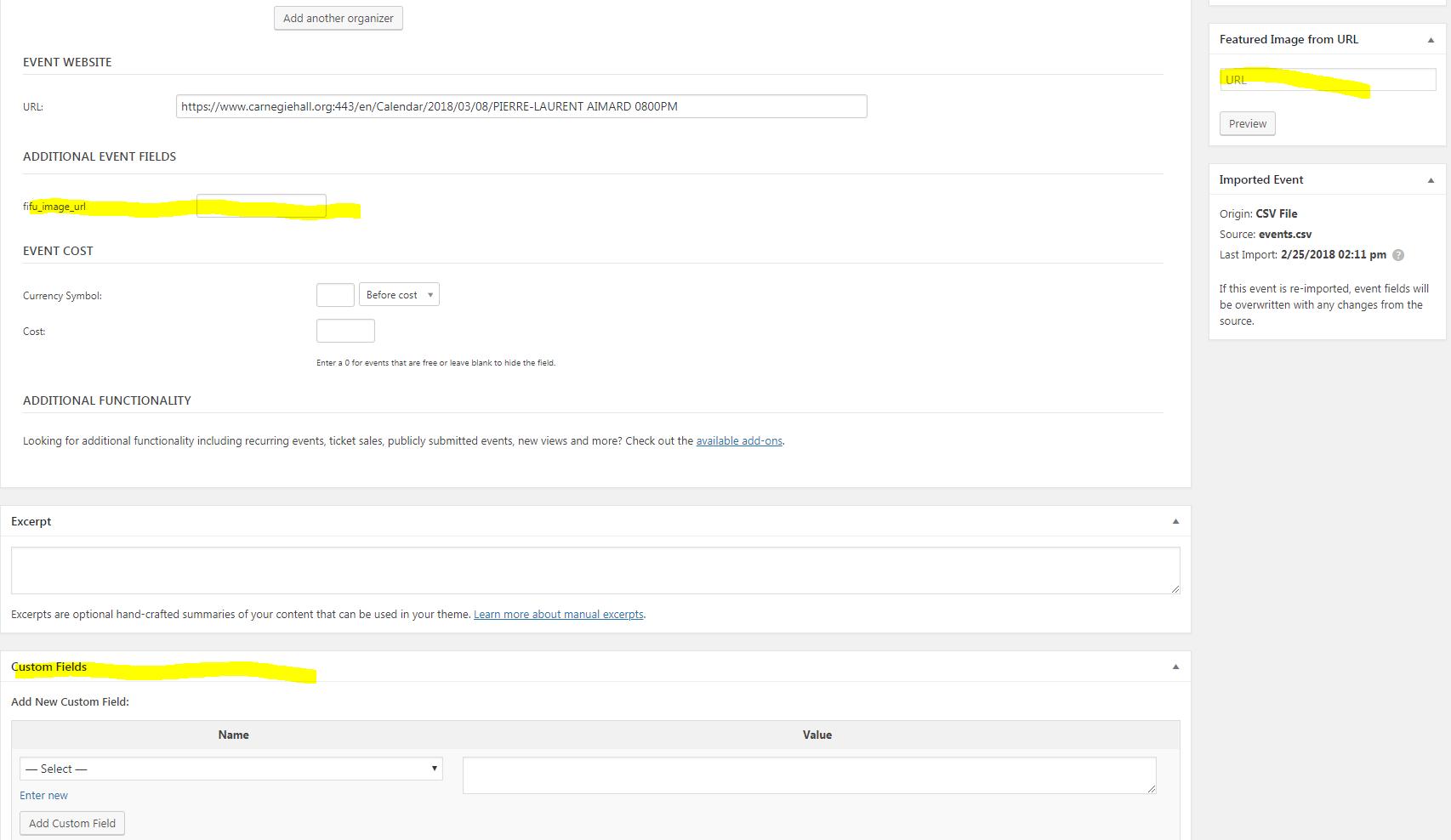 CSV importing fifu_image_url custom field for