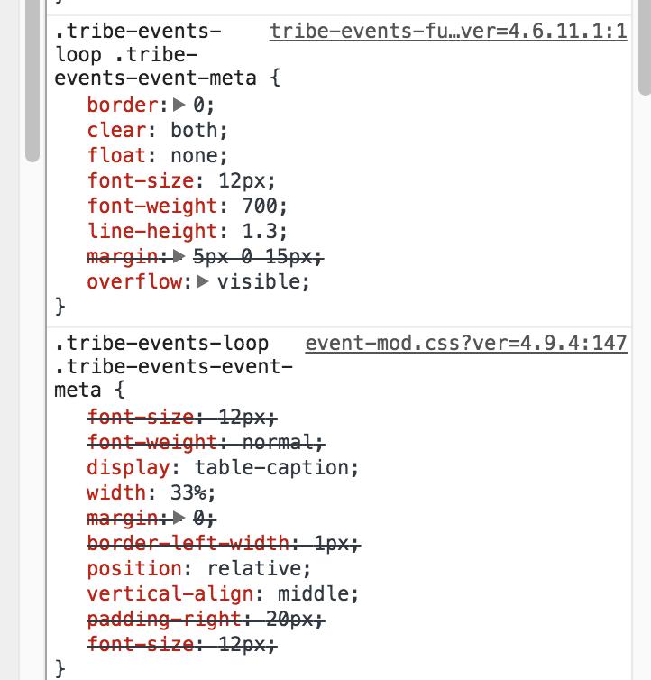 Amending EventsPro css   The Events Calendar