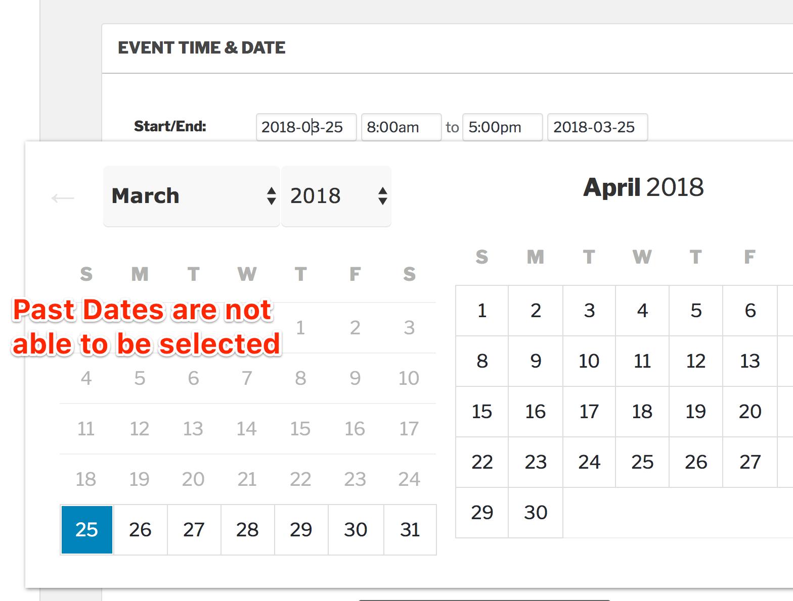 Custom Datepicker Start Date | The Events Calendar
