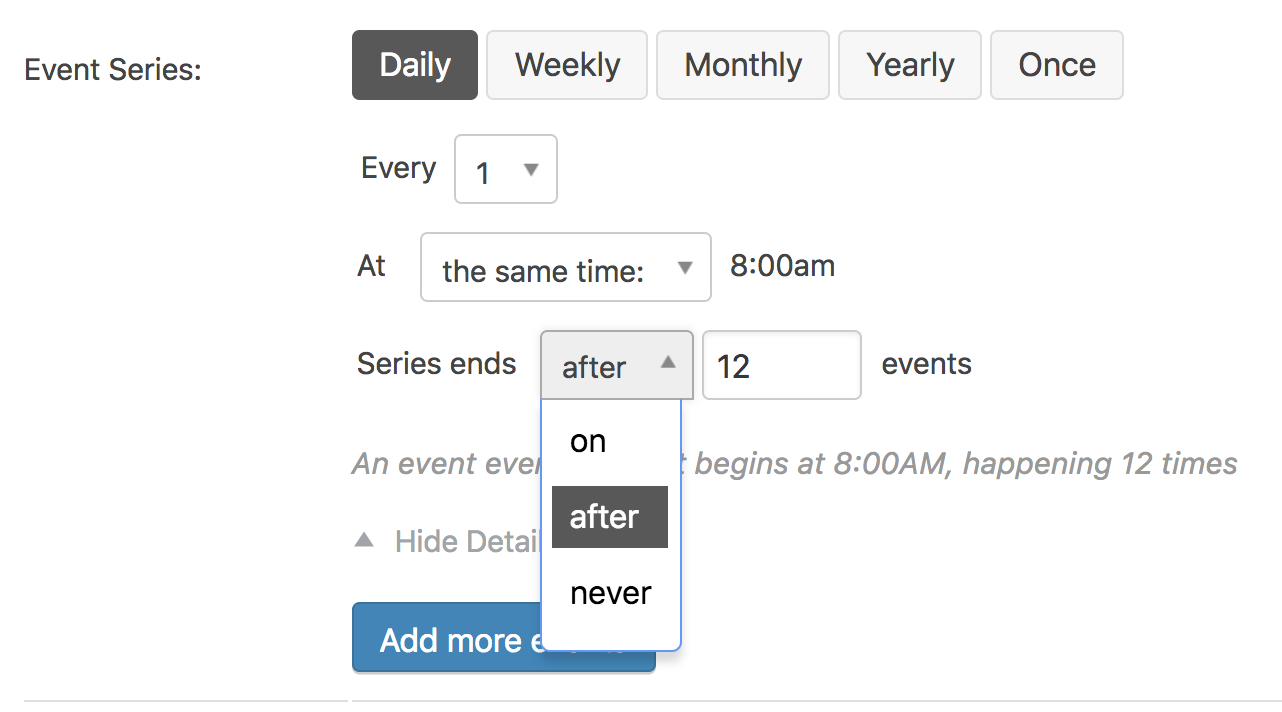 Recurring Events/Event Series in Events Calendar PRO
