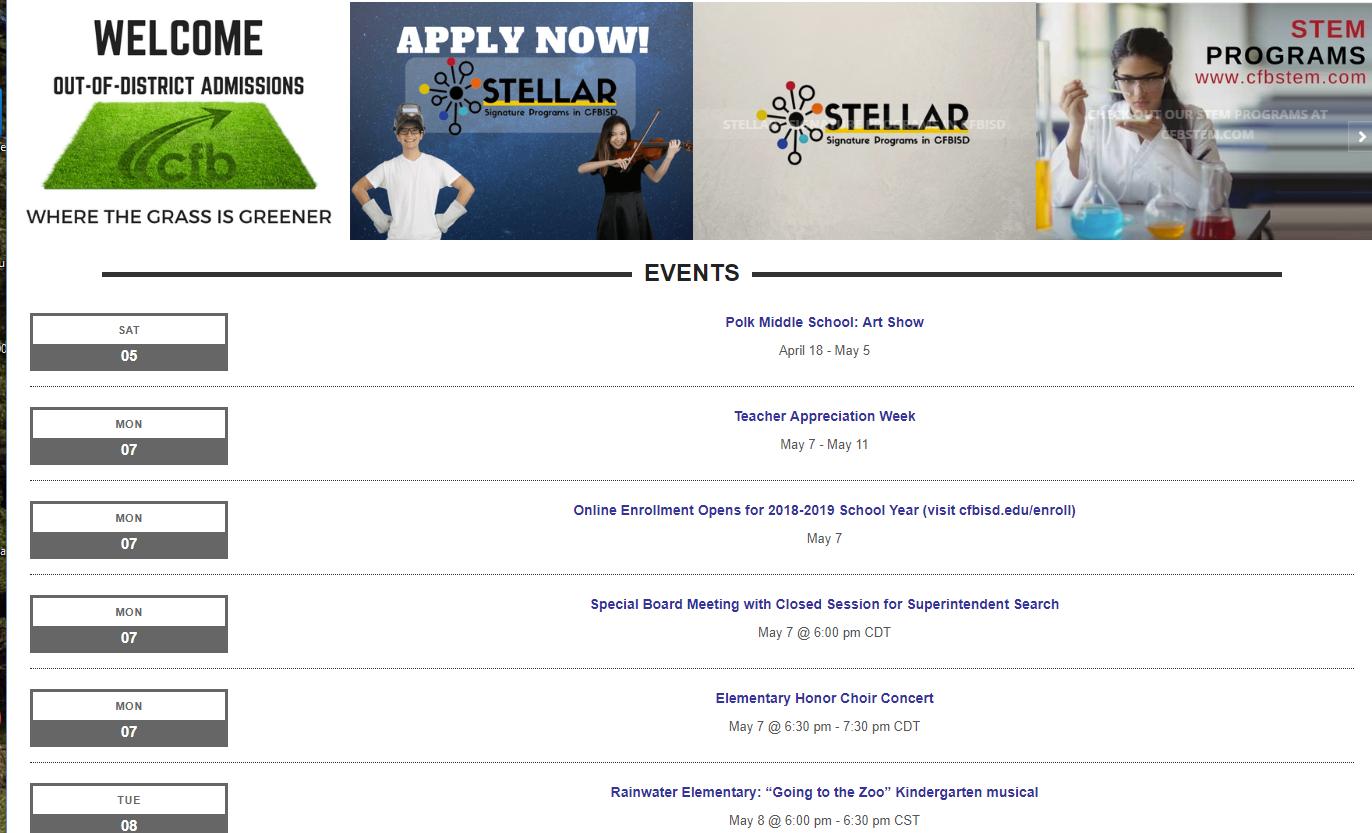 Cfbisd Calendar.Events List View The Events Calendar