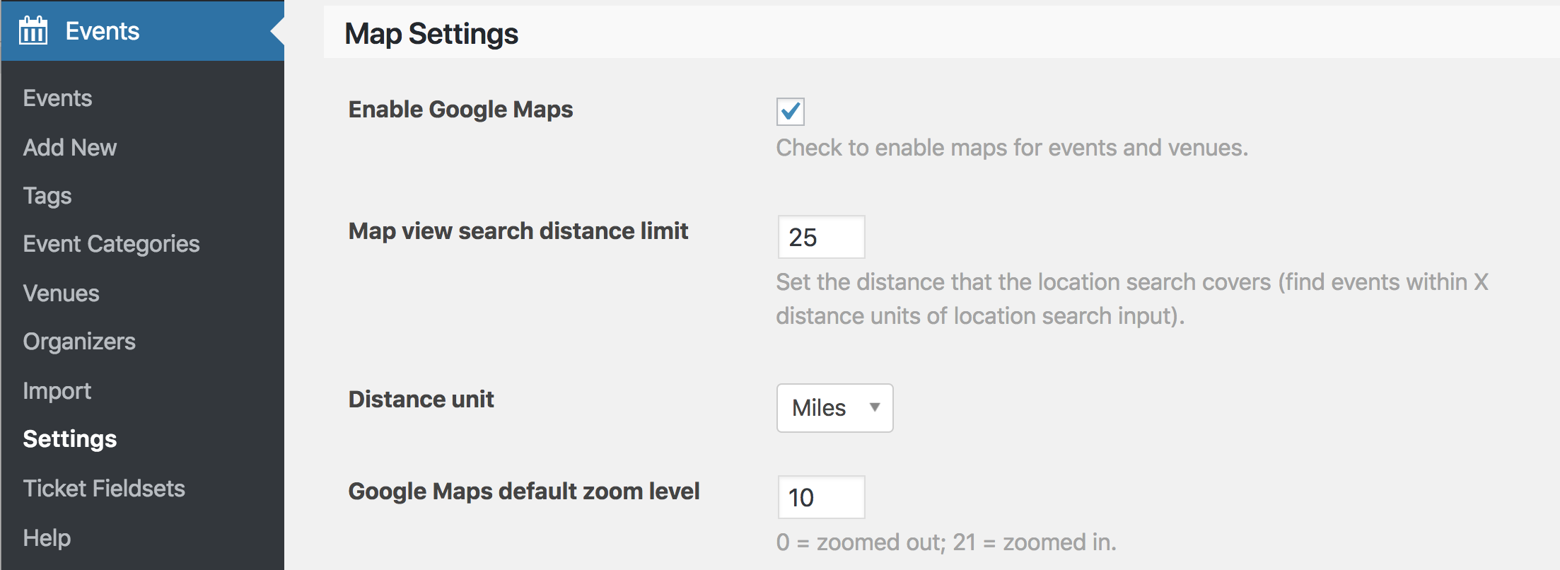 Screentshot: Events > Settings > Map Settings > Enable Google Maps