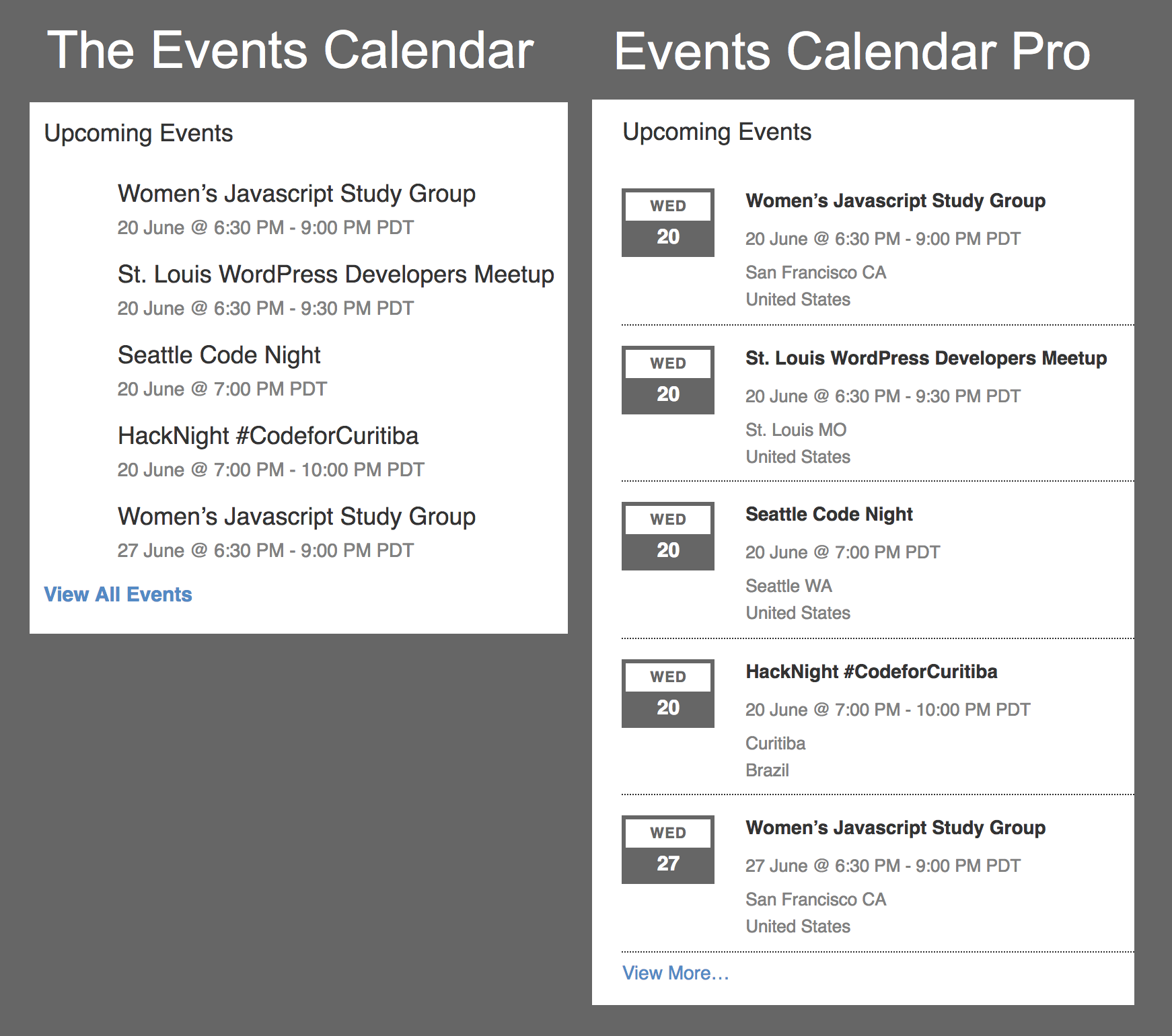 Event List Widget in The Events Calendar vs Events Calendar Pro