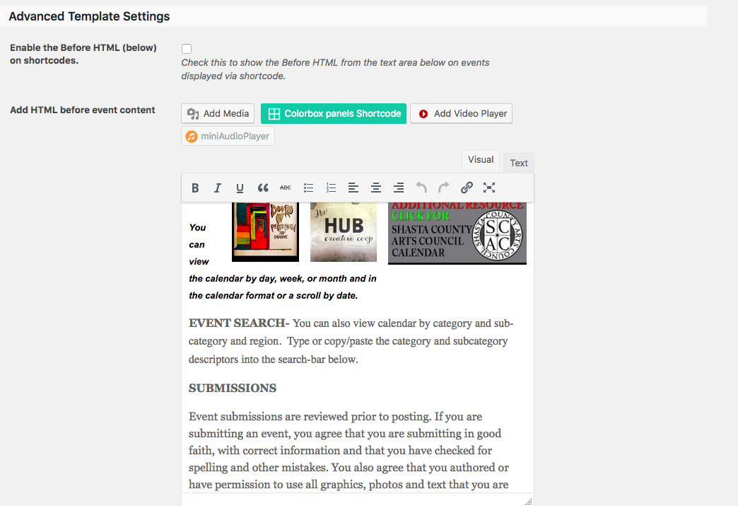 Different Verbage for Submission form AND for calendar view | The